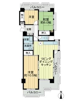 緑マンションA棟の間取図
