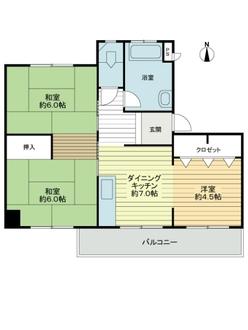 東丘住宅E号棟の間取図