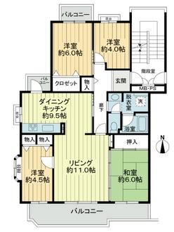 ホームタウン貝取2-7-1号棟の間取図