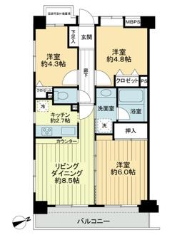 ライオンズマンション中野坂上シティの間取図