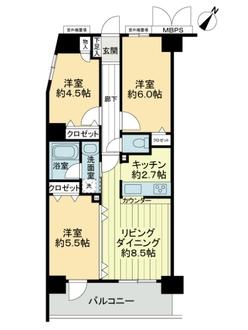 ライオンズマンション町田中町第2の間取図