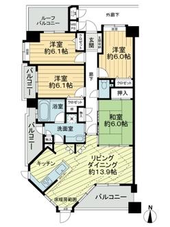ライオンズマンション大江川緑地の間取図