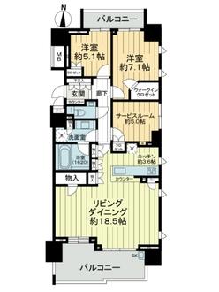 東京テラスA棟WESTの間取図
