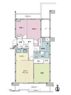 新ゆりグリーンタウンアカシア街区6号棟の間取図