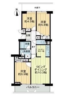 横浜星の丘ビューシティタウラスルーフA棟の間取図