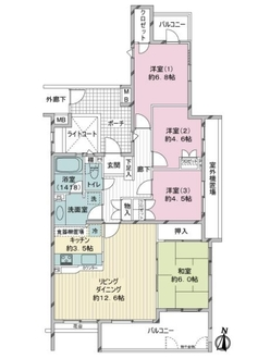 王禅寺ハイムA棟の間取図