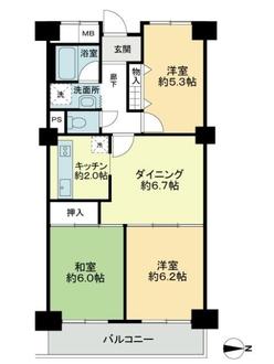 グリーンコーポ東戸塚B棟の間取図
