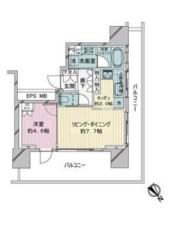 ウェリスタワー愛宕虎ノ門の間取図