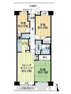 コスモ横浜和田町ヒルズの間取図