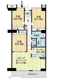 サザンヒル八事弐号棟の間取図