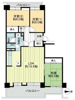 淀川リバーサイドタウンさざなみプラザ22号棟の間取図