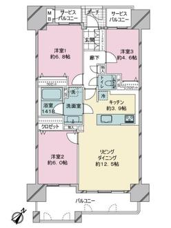西福岡マリナタウンクレアコースト2番館の間取図
