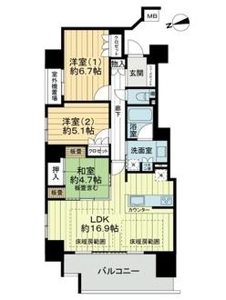 阿倍野松崎町レジデンスの間取図
