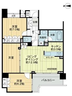 クリオ新宿戸山壱番館の間取図
