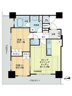 ライオンズタワー神戸旧居留地の間取図