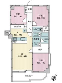 ライオンズマンション笹丘第2の間取図