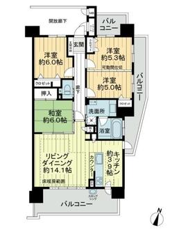 グラン・コート喜多山テラスの間取図
