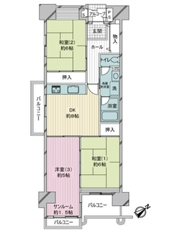 サンスクエア川崎5号棟の間取図
