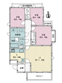 コスモ赤塚グランリーブルの間取図
