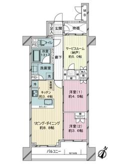 セルアージュ横濱阪東橋アヴニールの間取図