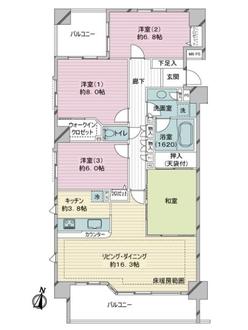 ライオンズヴィアーレ横濱ベイ壱番館の間取図