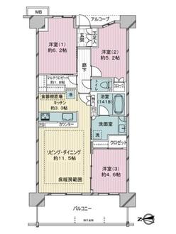 パークホームズ横浜矢向センターフォレストの間取図
