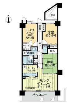 ライオンズマンション京都山科ガーデンシティの間取図
