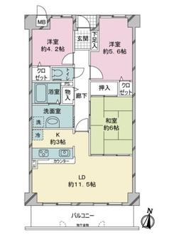 サーパス新室見2の間取図