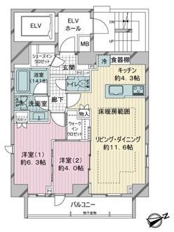 オープンレジデンシア虎ノ門の間取図