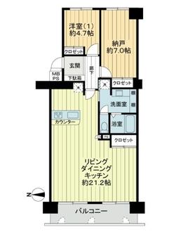 ファミールハイツ北大阪4号棟の間取図