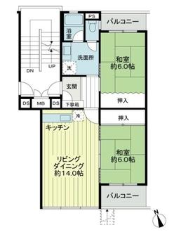 嵐山ロイアルハイツ第6号棟の間取図