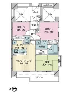 レクセルマンション四つ木第2の間取図