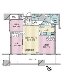 キャピタルゲートプレイス ザ・タワーの間取図