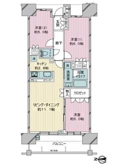 レーベン北千住エアクロスタワーの間取図