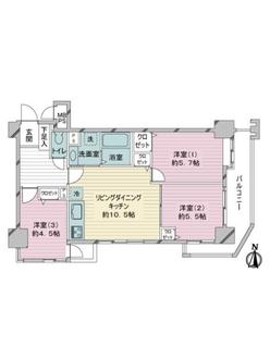 ライオンズマンション新川崎南の間取図