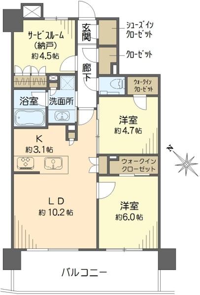 クオス新横浜の間取図