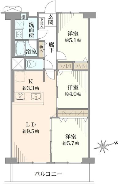 横浜大口ハウスの間取図