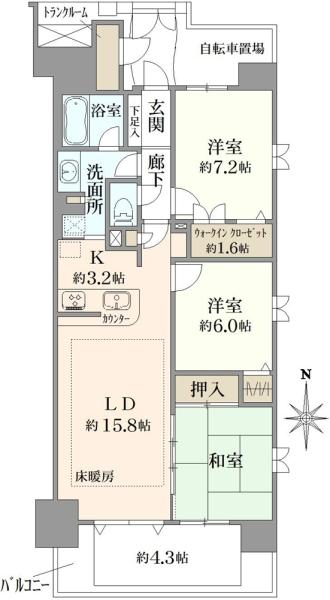 レイディアントシティ横濱カルティエ9の間取図