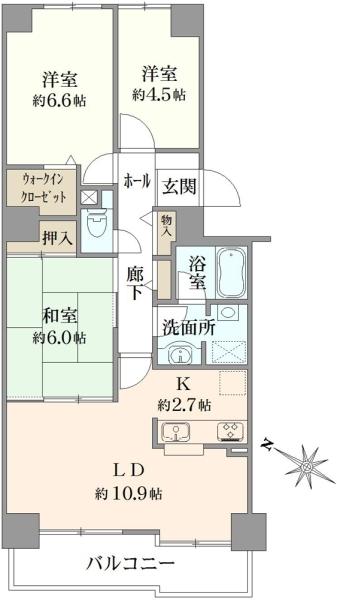 コスモ戸塚リベラヒルズA棟の間取図