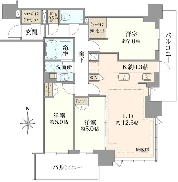 シティタワー国分寺ザ・ツインイースト棟の間取図