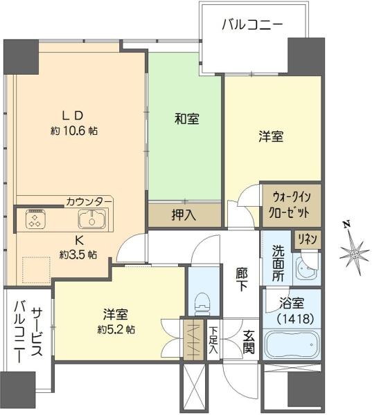 エルグレースタワー大阪同心の間取図