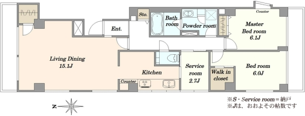 サンパークマンション六番町の間取図