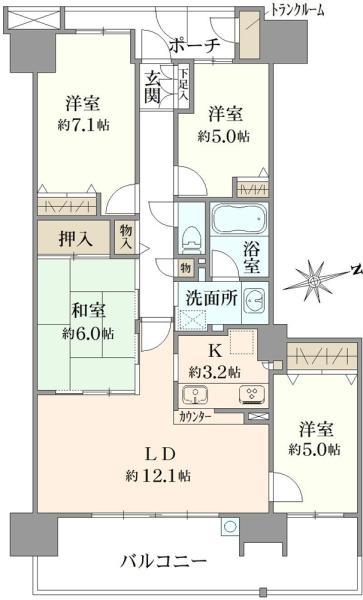 ミディオンセンターレジデンスの間取図