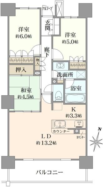武蔵浦和SKYGARDENC棟の間取図