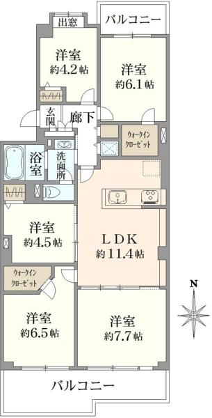 清新中央ハイツ8号棟の間取図