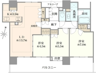ライオンズマンションコスタ・タワー浦和の間取図