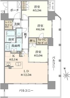 レーベン浦和常盤THE TOWERの間取図