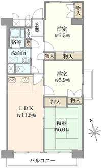 新松戸中央パークハウスD棟の間取図