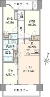ザ・レジデンス津田沼奏の杜センターレジデンスの間取図