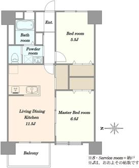 北砂四丁目住宅の間取図